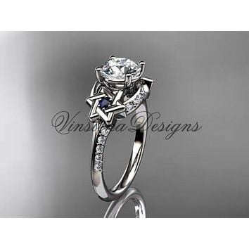 14kt white gold diamond, jewish Star of David ring, engagement ring VH10015