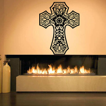 Wall Decal Vinyl Sticker Room Decor Tattoo Floral Beautiful Cross Symbol Abstract Sign 1371