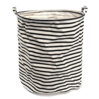 Black Stripes Laundry Hamper Basket