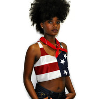 "Women's Merican Heroine ""USA"" Cropped Tank Top"