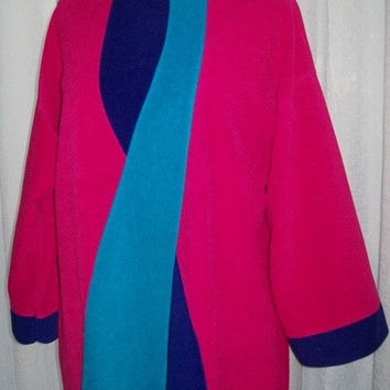 0764 Vintage 1970s Op Art Robe / Vanity Fair Colorblock Velour Robe / Fuschia, Purple, Turquoise / Size S