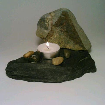 Slate Tealight Candle Holder, Stone, Pebbles, Nature, Zen, Triangle