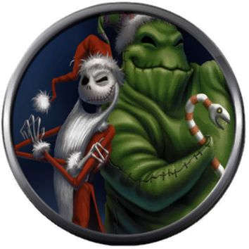 Santa Jack Skellington And Oogie Boogie With Candy Cane Nightmare Before Christmas 18MM - 20MM Charm for Snap Jewelry New Item