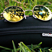 Yellow Round Lens Sunglasses With Metal Frame