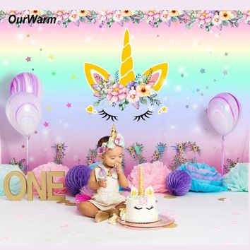 OurWarm 7*5ft Pink Unicorn Photo Backdrop Children Unicorn Birthday Baby Newborn Photography Backgrounds Unicorn Party Supplies