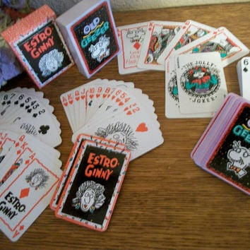 Playing Cards Two Decks Old Geezer and Estro-Ginny Novety Funny Birthday Over the Hill Retirement Gift Cards Vintage His Hers Couples Game