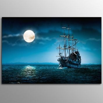 Without Frame Decor Canvas Painting Wall Pictures 1 Panels Wall Art  Moon Boat Sea landscape Canvas Art Home Decor Modern  Pictu