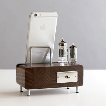 LED dock for iPhone 6/6 Plus Samsung Galaxy handcrafted butcher block from walnut wood with triple electron tubes - rounded edges