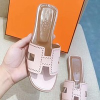 Hermes Fashion Summer Classic Women Leisure Beach Home Sandal Slipper Shoes(10-Color) Pink I-ALS-XZ