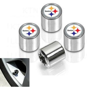 Licensed Official New NFL Pittsburgh Steelers Car Truck Plastic Chrome Finish Tire Valve Stem Caps