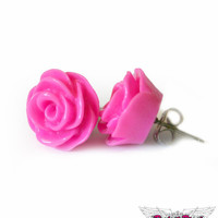 Hot Pink Rose Stud Hypoallergenic Earrings