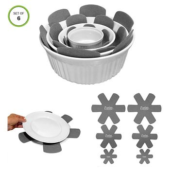 Evelots Pot & Pan Protectors Divider Pads, Assorted Sizes, Grey, Set of 6 or 12