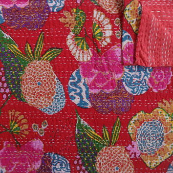 Red Color Tropical Kantha Quilt, Printed Kantha Bedding, Twin Size Kantha Throw, Printed Bedspread, Handmade Kantha Blanket, Bohemian