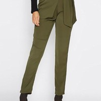 Harem Side Wrap Trousers - Olive