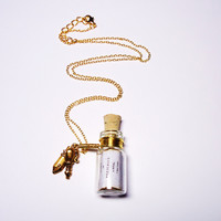 Message in a Bottle necklace Pride and Prejudice by by BelladeJour