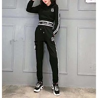 """""""TB"""" Woman Leisure Fashion Letter Personality Printing Hooded Long  Sleeve Tops Stripe Trousers Two-Piece Set Casual Wear Sportswear"""