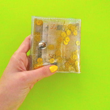 Gold glitter wallet,Gold metallic wallet, slim card holder, gift for vegan, vegan wallet, Business ID Card holder cashier wallet 90s