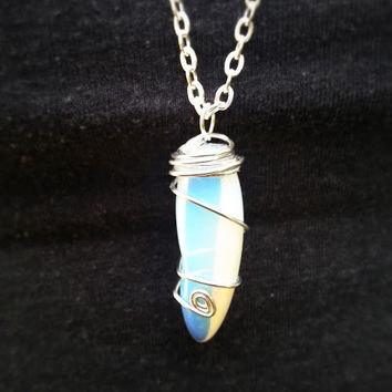 Sea Opal Crystal Pendant - Hand Wire Wrapped - Silver Chain Necklace - Extra Long Pendant -  OR Choose your Length