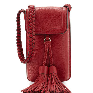 Rebecca Minkoff Isobel Leather Phone Crossbody Bag, Deep Red