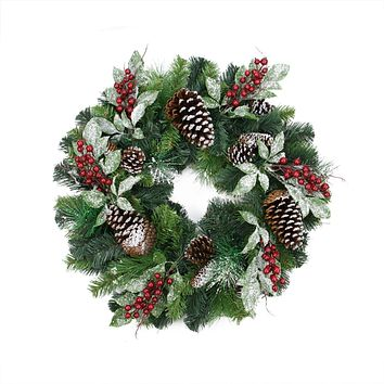 "24"" Pre-Decorated Frosted Pine Cone and Red Berry Artificial Christmas Wreath - Unlit"
