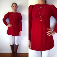 Vintage Red Velvet Mini Dress // Victorian Baby Doll Dress