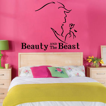 Wall Decal Vinyl Sticker Art Decor Design animated cartoon flower monster love story nursery child beauty and the beast girl Princess (i82)