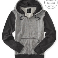 Aeropostale  Mens Brooklyn Calling Raglan Heathered Full-Zip Hoodie