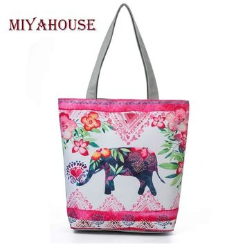 Miyahouses Trendy Pink Floral Design Canvas Shoulder Handbags Women Casual Beach Bag Cute Elephant Printed Single Shopping Bag