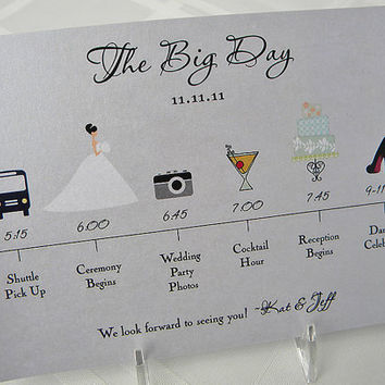 $1.40 Wedding Timeline Card by pixelstopaper on Etsy