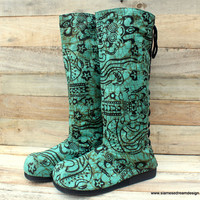 Vegan Womens Moccasin Boots, Teal Balinese Batik  Pull On Style