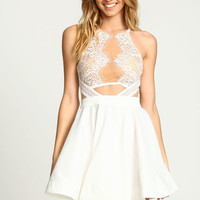 IVORY MIRRORED LACE FLARE DRESS
