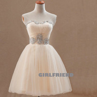 Sweetheart beading tulle short prom dress / bridesmaid dress