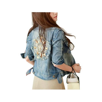 Hot Sale 2016  New Fashion Women Plus Size Style  Rivet Horns Ripped Blue Popular Women Jean Jacket Denim Jean Jeans A147