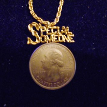 bling 14kt yellow gold plated SPECIAL SOMEONE word saying pendant charm 24 inch rope chain hip hop trendy fashion necklace jewelry special