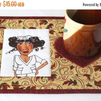CYBER SALE Nurse Mug Rug, Quilted Mug Rug, Snack Mat, Fall Mug Rug, Autumn Leaves, Loralie Nifty Nurses, Gift for Nurses