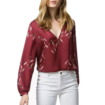 Red Feather Print Long Sleeve Deep V Neck Blouse