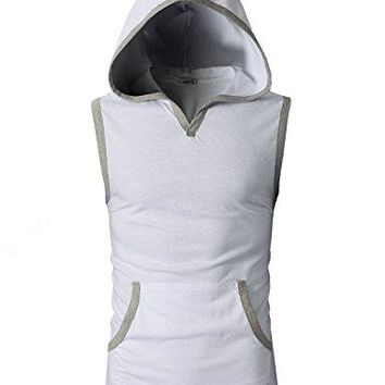 H2H Mens Fashion Slim Fit Sleeve-less Lightweight Tank Tops With Hoodie WHITE US L/Asia XL (CMTTK015)
