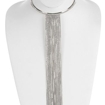Clear Long Fringe Rhinestone Metal Choker Necklace