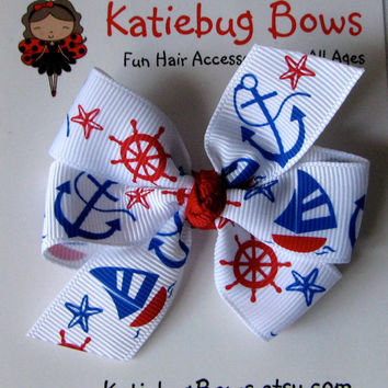 Nautical 4th of July - Red White Blue Hair Bow - Go USA - Sail Boat Anchor Stars - Etsykids Team