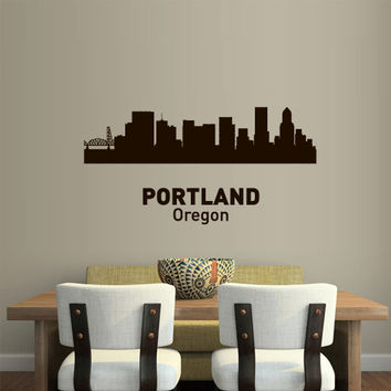 Wall Vinyl Sticker Decals Decor Art Bedroom Design Mural Words Sign Town City Skyline Portland Oregon (z3060