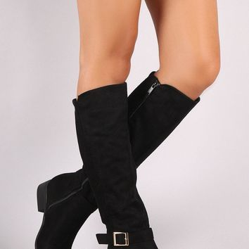 Bamboo Vegan Suede Ribbed Back Riding Boots