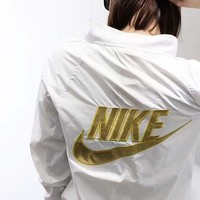 NIKE Windbreaker - Sun protection clothing Back Big Flag Women Men Long Sleeve Coat B-AA-XDD Gold
