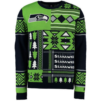 Men's Seattle Seahawks NFL Klew College Navy Patches Crew Neck Ugly Sweater