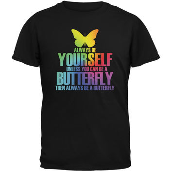 Always Be Yourself Butterfly Black Youth T-Shirt