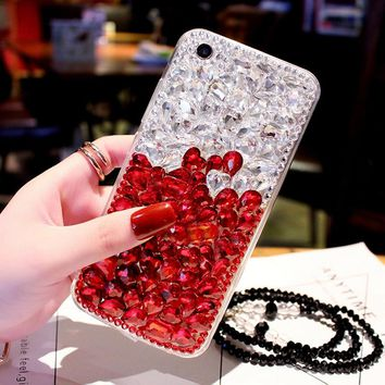 For iPhone X Diamond Case Luxury Women Bling Rhinestone Stone Jewelled Cover Case For iPhone 8 Plus 7 Plus With Pearl Lanyard