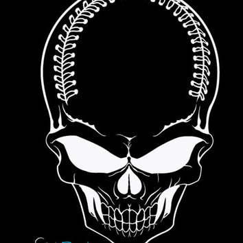 Vinyl Wall Decal Sticker Baseball Skull #675