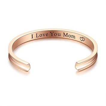 Studiocc I Love You Mom Bangle Bracelets  Mothers Day Gifts for Mom Grandma Mother in Law