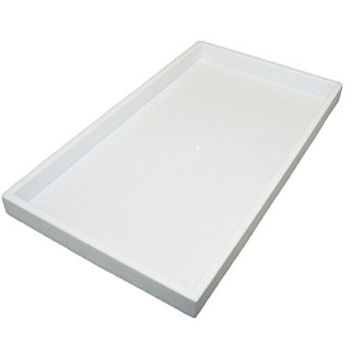 """Regal Pak ® White Full Size 1""""H Stackable Plastic Tray With Beige Linen Pad 14-1/8"""" X 7-5/8"""" (Jewelry Not Included)"""