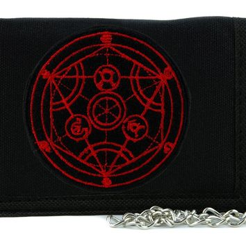 Alchemist Human Transmutation Circle Symbol Tri-fold Wallet with Chain Occult Clothing