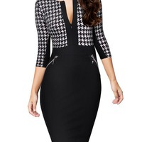 Miusol Women Formal Houndstooth-Print Optical Illusion 2/3 Sleeve Business Dress